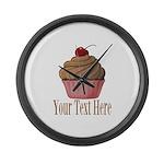 Pink Brown Cupcake Large Wall Clock
