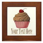 Pink Brown Cupcake Framed Tile