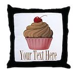 Pink Brown Cupcake Throw Pillow