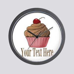 Pink Brown Cupcake Wall Clock