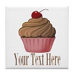 Pink Brown Cupcake Tile Coaster
