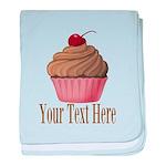 Pink Brown Cupcake baby blanket