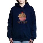 Pink Brown Cupcake Women's Hooded Sweatshirt