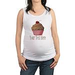 Pink Brown Cupcake Maternity Tank Top