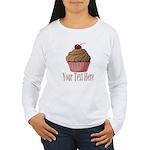 Pink Brown Cupcake Long Sleeve T-Shirt