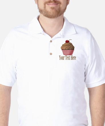 Pink Brown Cupcake Golf Shirt