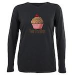 Pink Brown Cupcake Plus Size Long Sleeve Tee