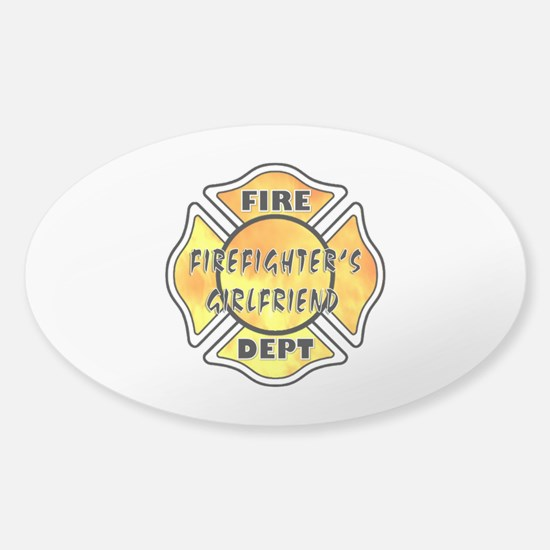 Firefighters Girlfriend Sticker (Oval)