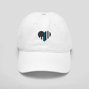 Thin Blue Line American Flag Heart Cap