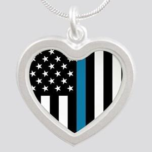 Thin Blue Line American Flag Heart Necklaces