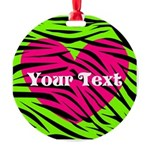 Pink Green Zebra Stripes Ornament