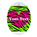 Pink Green Zebra Stripes Oval Ornament