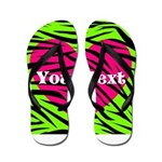 Pink Green Zebra Stripes Flip Flops
