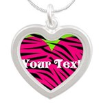 Pink Green Zebra Stripes Necklaces
