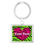 Pink Green Zebra Stripes Keychains