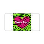 Pink Green Zebra Stripes Aluminum License Plate