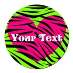 Pink Green Zebra Stripes Round Car Magnet