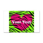 Pink Green Zebra Stripes Rectangle Car Magnet
