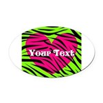 Pink Green Zebra Stripes Oval Car Magnet