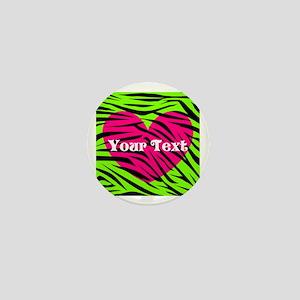 Pink Green Zebra Stripes Mini Button