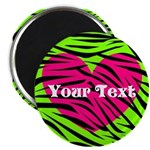 Pink Green Zebra Stripes Magnets