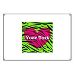 Pink Green Zebra Stripes Banner