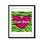 Pink Green Zebra Stripes Framed Panel Print