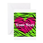 Pink Green Zebra Stripes Greeting Cards