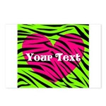 Pink Green Zebra Stripes Postcards (Package of 8)