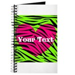 Pink Green Zebra Stripes Journal
