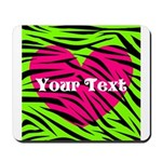 Pink Green Zebra Stripes Mousepad