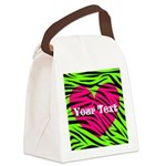 Pink Green Zebra Stripes Canvas Lunch Bag