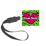 Pink Green Zebra Stripes Luggage Tag