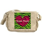 Pink Green Zebra Stripes Messenger Bag