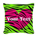 Pink Green Zebra Stripes Woven Throw Pillow