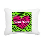 Pink Green Zebra Stripes Rectangular Canvas Pillow