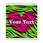Pink Green Zebra Stripes Throw Blanket