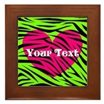 Pink Green Zebra Stripes Framed Tile
