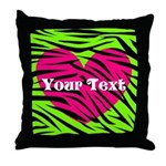 Pink Green Zebra Stripes Throw Pillow