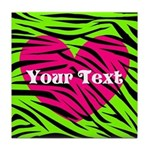 Pink Green Zebra Stripes Tile Coaster