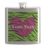Pink Green Zebra Stripes Flask