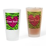 Pink Green Zebra Stripes Drinking Glass