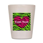 Pink Green Zebra Stripes Shot Glass