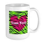 Pink Green Zebra Stripes Mugs