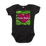Pink Green Zebra Stripes Baby Bodysuit