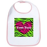 Pink Green Zebra Stripes Bib