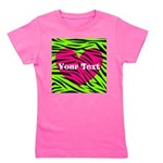 Pink Green Zebra Stripes Girl's Tee