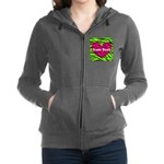 Pink Green Zebra Stripes Women's Zip Hoodie