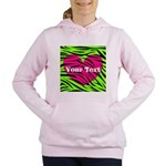 Pink Green Zebra Stripes Women's Hooded Sweatshirt