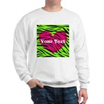 Pink Green Zebra Stripes Sweatshirt